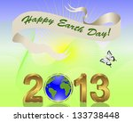 earth day background. gold 3 d...   Shutterstock .eps vector #133738448