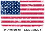 grunge american flag.dirty flag ... | Shutterstock .eps vector #1337388275