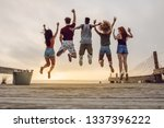 rear view of young people... | Shutterstock . vector #1337396222