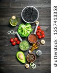 organic food. different raw... | Shutterstock . vector #1337413358