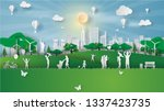 paper art style of eco... | Shutterstock .eps vector #1337423735