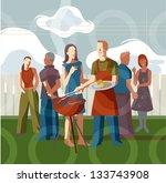 bbq scene | Shutterstock . vector #133743908