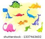 set jurassic reptile vector...   Shutterstock .eps vector #1337463602