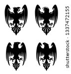 dark evil heraldic eagle with... | Shutterstock . vector #1337472155