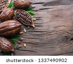 cocoa pod and cocoa beans on... | Shutterstock . vector #1337490902
