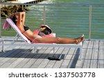 sensuous lady sunbather | Shutterstock . vector #1337503778