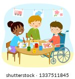 disabled girl in a wheelchair... | Shutterstock .eps vector #1337511845