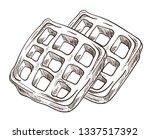 breakfast waffles isolated... | Shutterstock .eps vector #1337517392