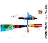 colorful vector seaside...   Shutterstock .eps vector #133752182