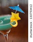 blue hawaiian cocktail served... | Shutterstock . vector #133753412