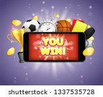 you win  sports betting vector... | Shutterstock .eps vector #1337535728