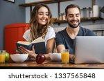 beautiful cheerful couple... | Shutterstock . vector #1337565848