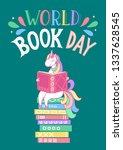 world book day. unicorn reading ... | Shutterstock .eps vector #1337628545