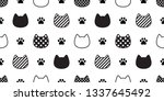 cat seamless pattern vector paw ... | Shutterstock .eps vector #1337645492