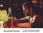 taking beer really seriously.... | Shutterstock . vector #1337654105