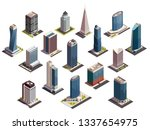 city skyscrapers isometric set... | Shutterstock .eps vector #1337654975
