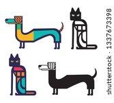 dog and cat   flat design... | Shutterstock .eps vector #1337673398