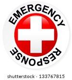 emergency response badge   red     Shutterstock .eps vector #133767815