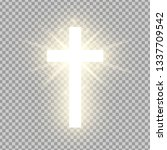 Shining Gold Cross Isolated On...