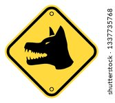angry dog yellow danger sign.... | Shutterstock .eps vector #1337735768