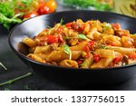 penne pasta in tomato sauce... | Shutterstock . vector #1337756015