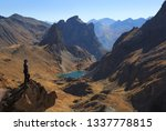 woman looking at a valley and... | Shutterstock . vector #1337778815