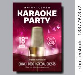 karaoke poster vector. disco... | Shutterstock .eps vector #1337797352