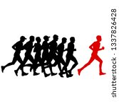 set of silhouettes. runners on...   Shutterstock . vector #1337826428