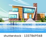 luxury villa house for vacation ... | Shutterstock .eps vector #1337869568