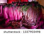 festive tablen stands decorated ...   Shutterstock . vector #1337903498