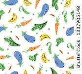 vegetables seamless pattern.... | Shutterstock .eps vector #1337905148