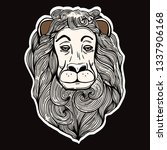 isolated lion in hand drawn... | Shutterstock .eps vector #1337906168