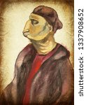strange man. an hand painting   ... | Shutterstock . vector #1337908652