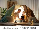 family  hygge and technology... | Shutterstock . vector #1337915018