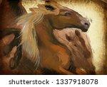 horse. an hand painting  ... | Shutterstock . vector #1337918078