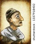 man. an hand painting  ... | Shutterstock . vector #1337918402
