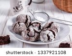 chocolate crinkle cookies with... | Shutterstock . vector #1337921108