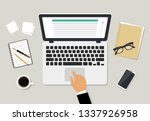 workplace in office with laptop ... | Shutterstock .eps vector #1337926958
