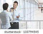 business people talking in... | Shutterstock . vector #133794545