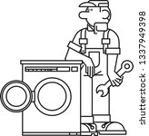 happy repairman and washing... | Shutterstock .eps vector #1337949398