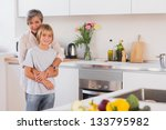grandmother hugging her... | Shutterstock . vector #133795982