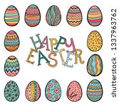 happy easter objects collection ... | Shutterstock .eps vector #1337963762