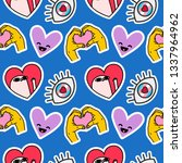 cute emoji pattern with social... | Shutterstock .eps vector #1337964962