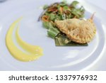 fried potato filled pastry with ... | Shutterstock . vector #1337976932