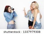 happy girls friends taking some ... | Shutterstock . vector #1337979308