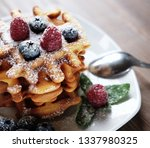 blueberry waffles with... | Shutterstock . vector #1337980325