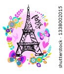 paris print t shirts and card.... | Shutterstock .eps vector #1338002015