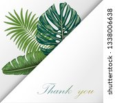 design card with leaves palm ... | Shutterstock .eps vector #1338006638