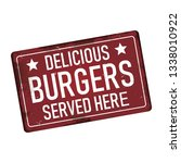delicious burgers served here... | Shutterstock .eps vector #1338010922
