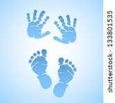 Baby Boy Vector Foot Prints An...